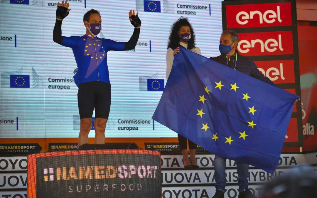Giro d'Italia: Premiazione Giro-E (pedalata assisitita) Edic Matera per Commissione Europea